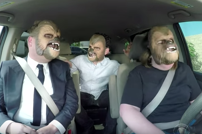 Chewbacca Mom Drives James Corden To Work, Hilarity Ensues Screen Shot 2016 05 24 at 12.17.20