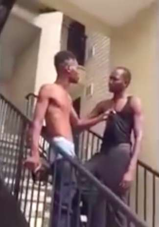 Bully Gets Insanely Brutal Choke Slam Knockout Down Flight Of Stairs choke4