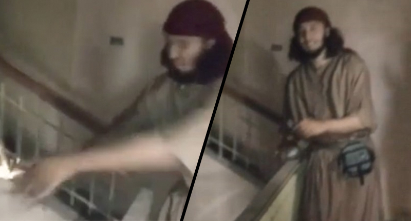 Idiotic ISIS Jihadi Nearly Blows Himself Up In Crazy Suicide Belt Prank isis jackass FB