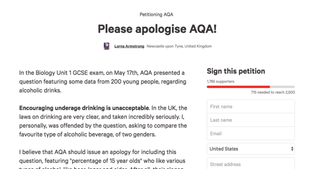 Biology GCSE Exam Asks Students Incredibly Bizarre Question petition1