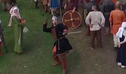 Russian Knight Takes Out Drone With Unbelievable Spear Throw spear1