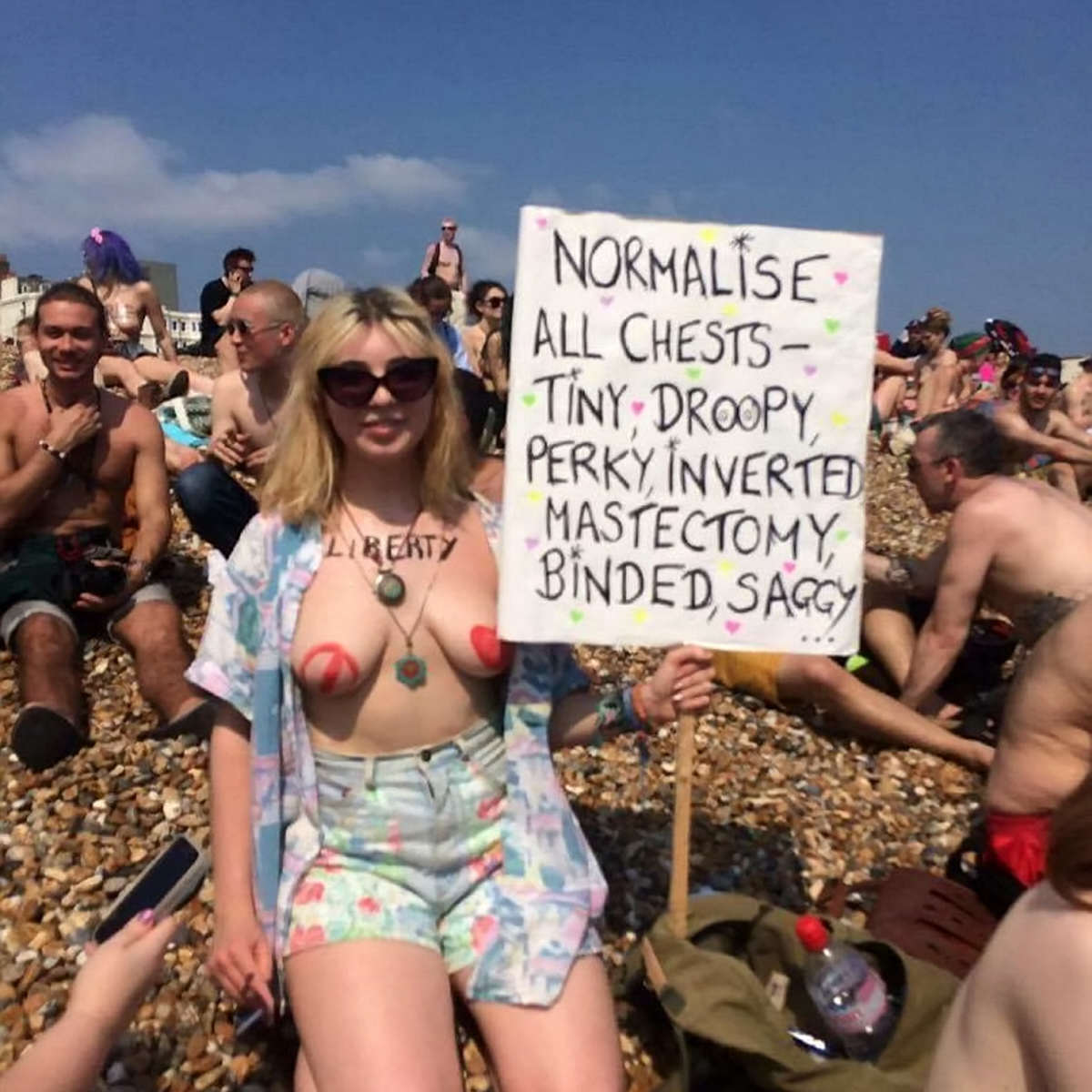 Hundreds Of People Freed The Nipple On Brighton Beach To Protest Censorship SWNS NIPPLE PROTEST 02 1