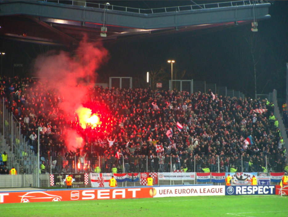 French Football Fan Smuggles Flare In Most Uncomfortable Way Possible Supporters LOSC vs PSV Eindhoven