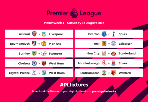 The Premier League Fixtures For 2016/17 Have Been Announced fl fixtures