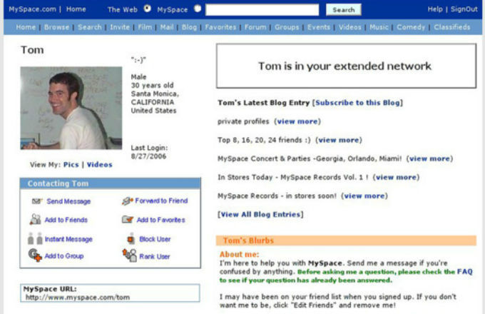 Heres Why You Need To Delete Your Old Myspace Account ASAP myspace tom page o0ufuj