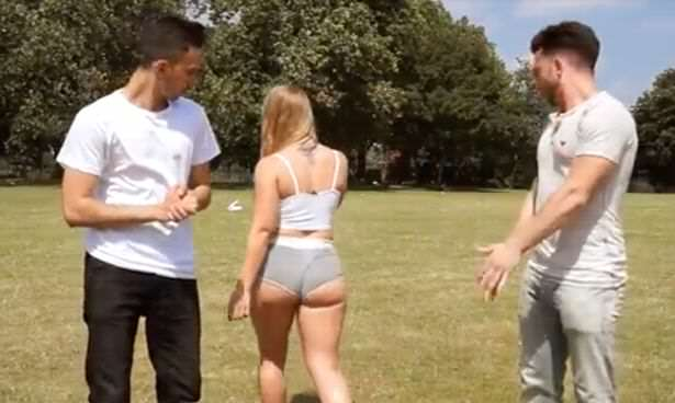 Woman-wears-very-short-shorts-in-London-park-to-see-how-people-react (3)