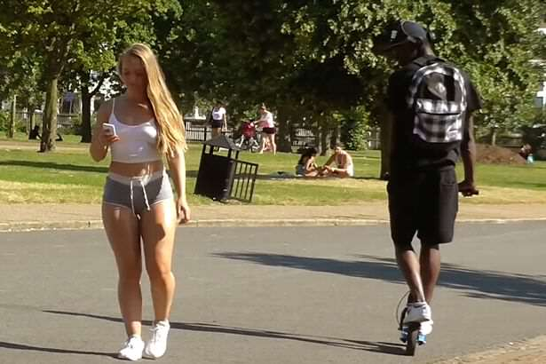 Woman-wears-very-short-shorts-in-London-park-to-see-how-people-react