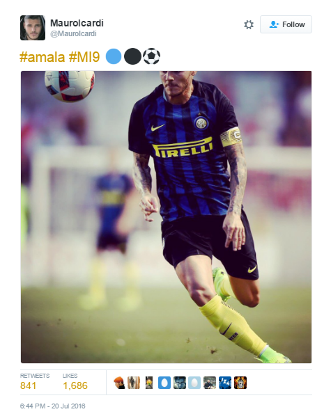 Arsenals Summer Goes From Bad To Worse After Another Striker Rejection icardi tweet 2