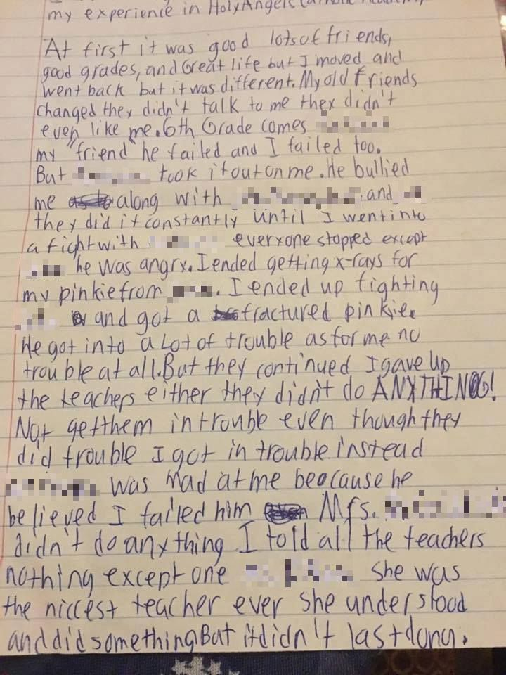Heartbreaking Final Letter Of Bullied Schoolboy Who Commited Suicide 17ba8cb957afb4a2fee819817f7a4f26