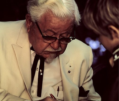 KFC's Secret Recipe Discovered In Old Scrapbook Colonel Harland Sanders in character 502x426