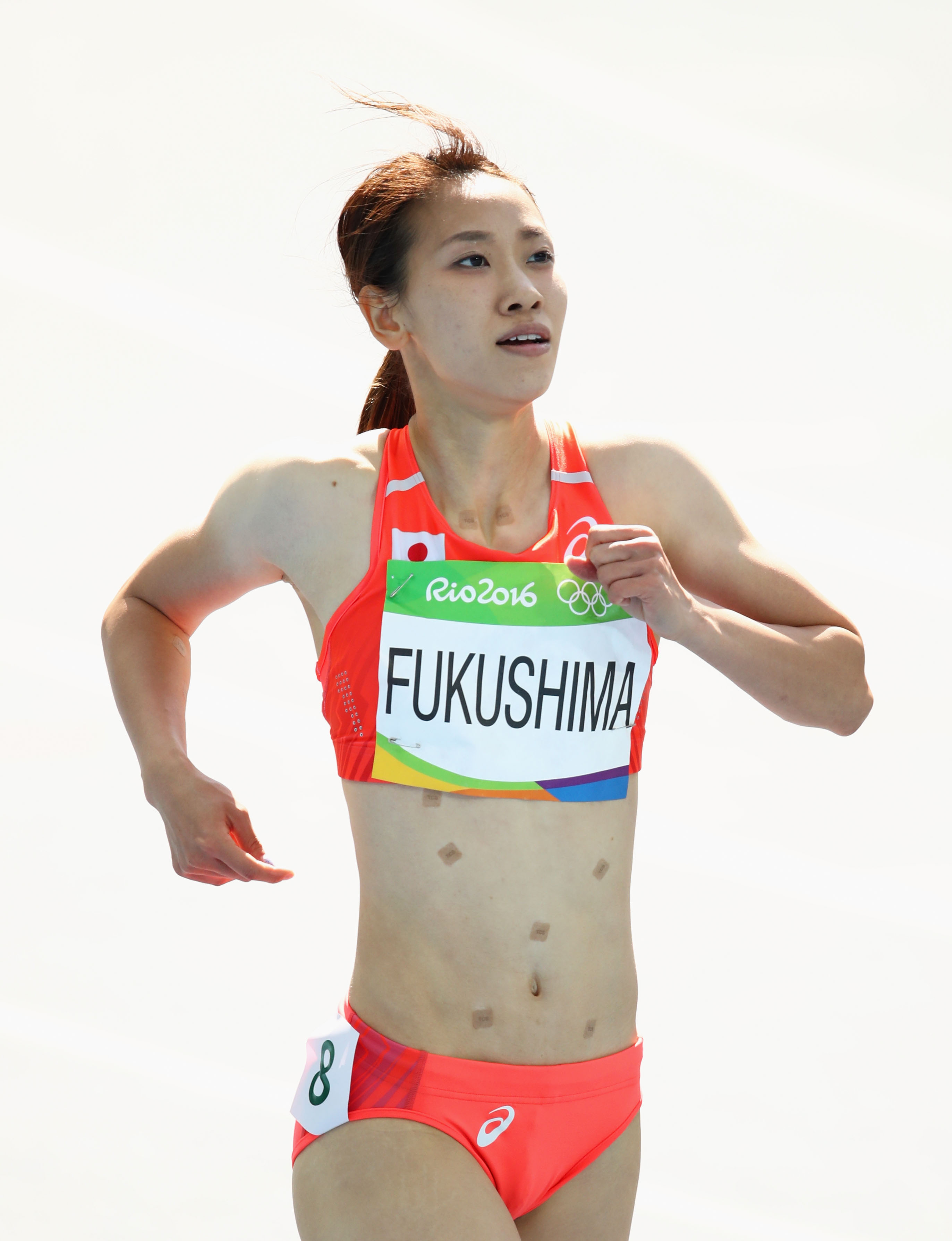Heres Why Japans Chisato Fukushima Wore Patches While Running In Rio GettyImages 589705648