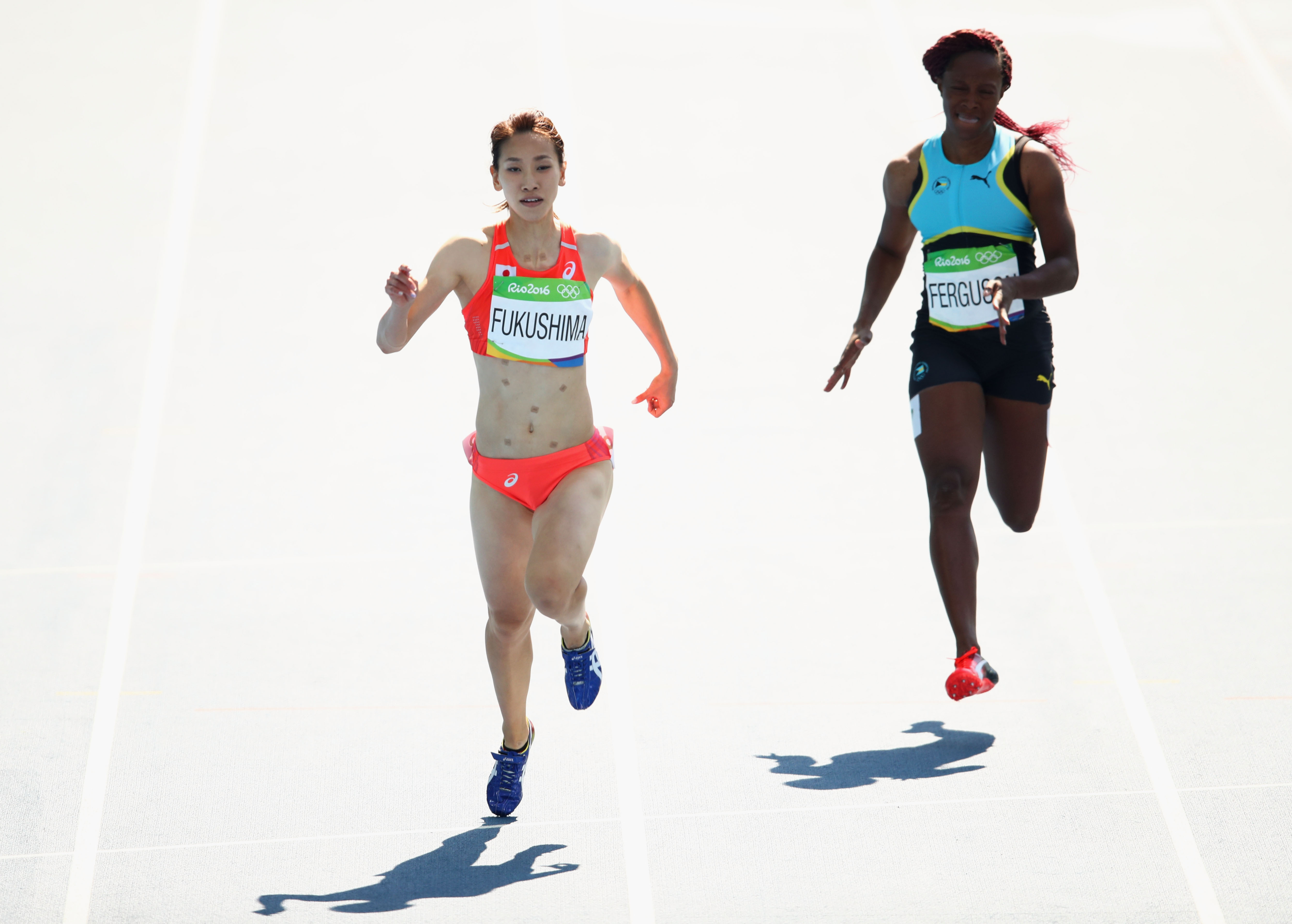 Heres Why Japans Chisato Fukushima Wore Patches While Running In Rio GettyImages 589706520