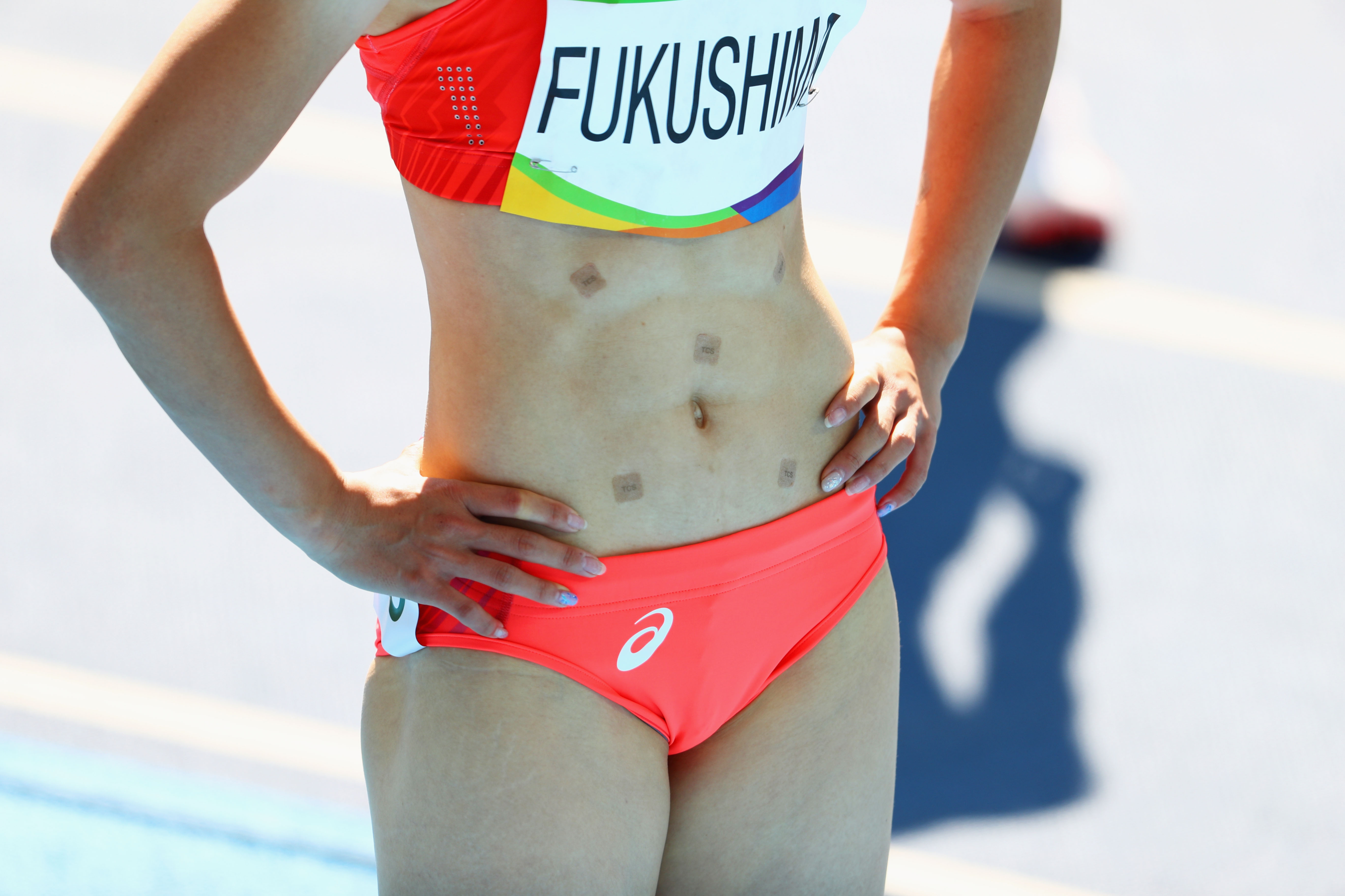 Heres Why Japans Chisato Fukushima Wore Patches While Running In Rio GettyImages 589707276
