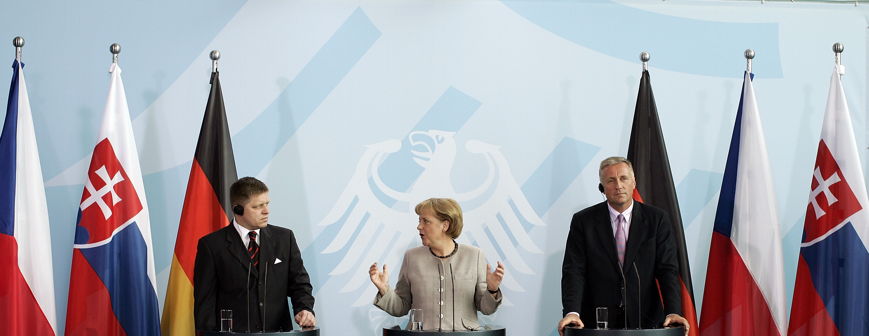 Merkel Meets With Czech And Slovak Presidents