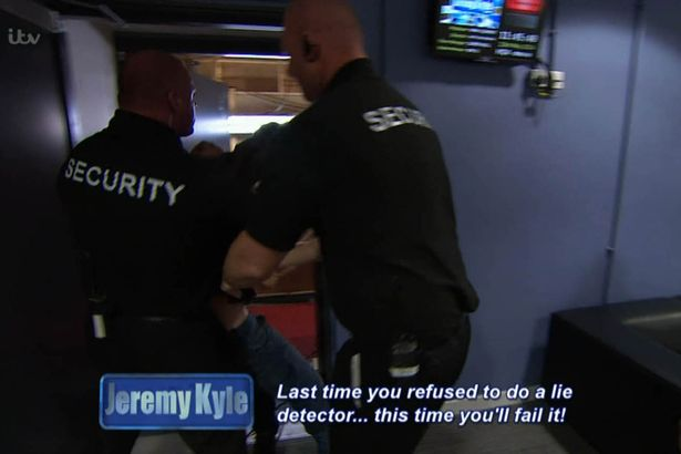 Jeremy Kyle Guest Dragged Away By Security After Getting Violent Last time you refused to do a lie detector this time youll fail it 1