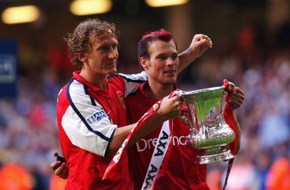 Arsenal's two goalscorers Ray Parlour and Fredrik Ljungberg