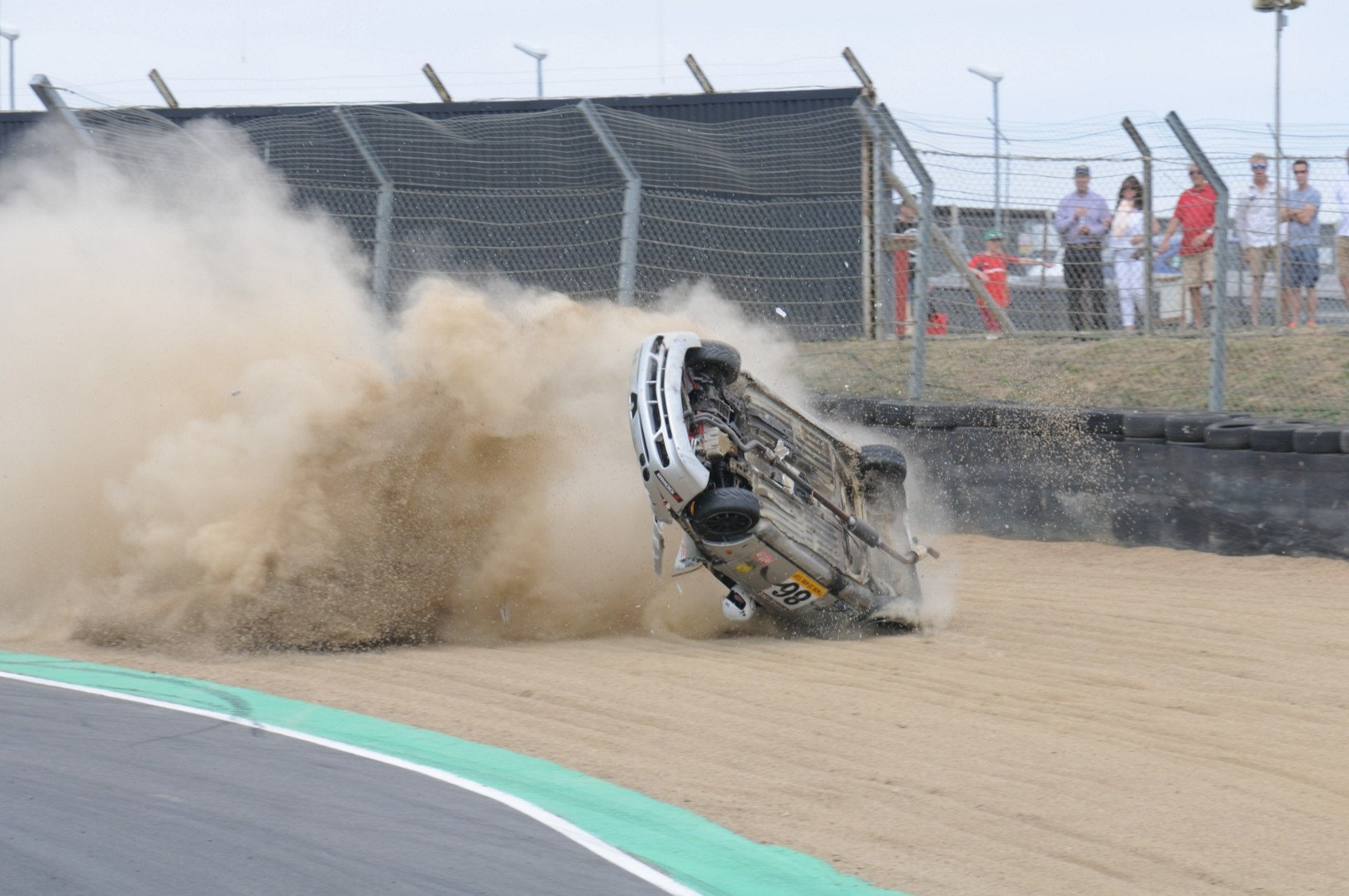 Incredible Moment Racing Driver Survives Crash With Head Out Of Window SWNS SMASH SEQUENCE 06