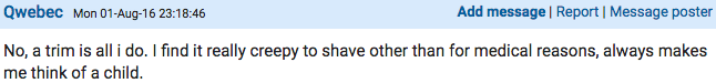 Woman Starts Very Heated Debate On Mumsnet About Shaving Down There Screen Shot 2016 08 03 at 11.12.15