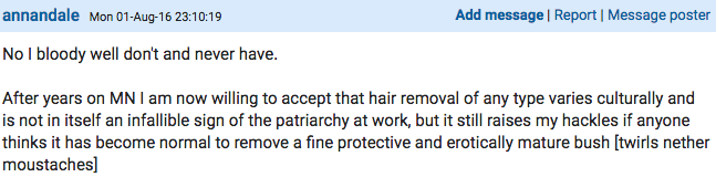 Woman Starts Very Heated Debate On Mumsnet About Shaving Down There Screen Shot 2016 08 03 at 11.45.47