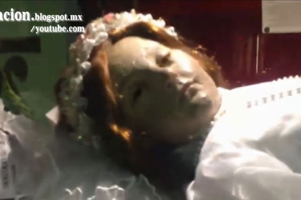Terrifying Moment Corpse Of Child Saint Opens Her Eyes Moment long dead corpse of child saint Santa Inocencia opens its eyes