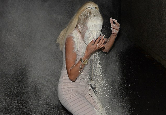 Ex On The Beach Star Gets Flour Bombed On Night Out