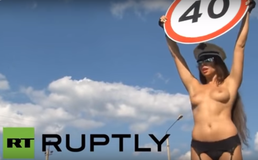 Russia Uses Topless Women To Stop Speeding Drivers tolee