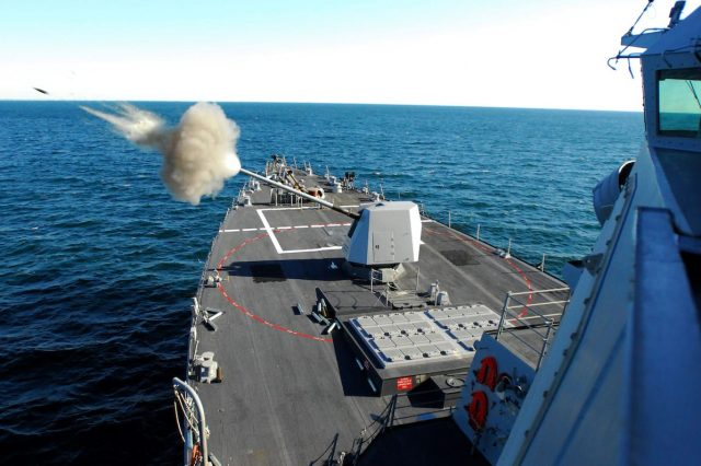Missiles Fired At U.S. Warship Sparks New World War Fears 31619UNILAD imageoptim US Navy 070111 N 4515N 509 Guided missile destroyer USS Forest Sherman DDG 98 test fires its five inch gun on the bow of the ship during training 640x426