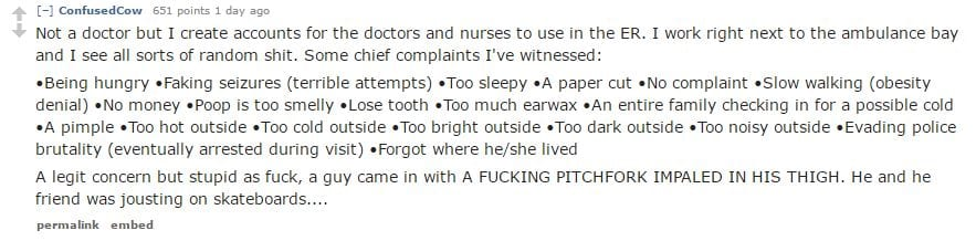 Doctors Reveal The Most Ridiculous Ailments In The Emergency Room 60749UNILAD imageoptim Ridiculous Illnesses comment10