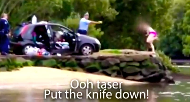 Party Girl In Bikini Gets Tasered By Police Before Running Into Woods wsi imageoptim tas