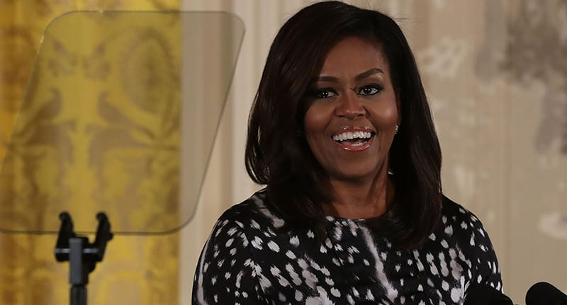 Michelle Obama smiling in the White House