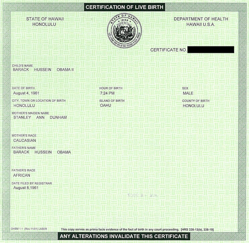 Police Chief Claims Obamas Birth Certificate Is A Fake 57834UNILAD imageoptim BarackObamaCertificationOfLiveBirthHawaii