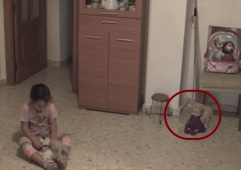 Possessed Doll Moves Head While Little Girl Plays In Her