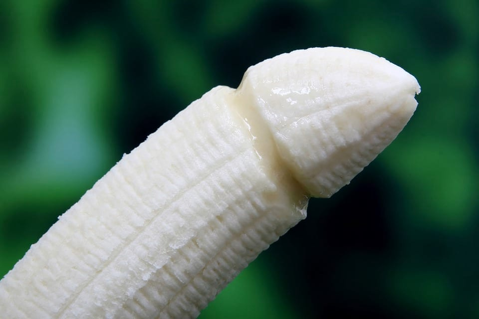 A Banana shaped like a male penis