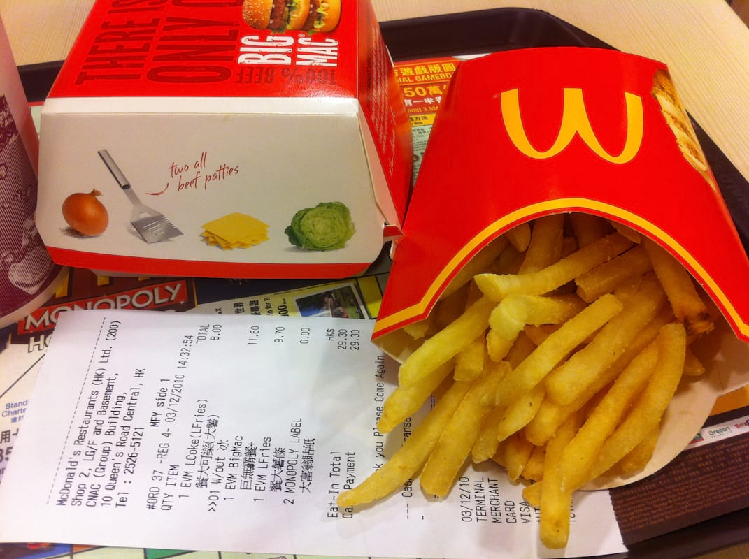 McDonalds Fries Could Help Cure Baldness 1574 HK Central McDonalds Lunch set receipt Dec 2010