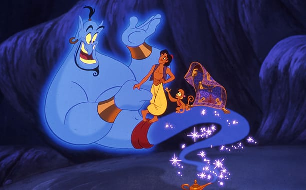 A still from Aladdin featuring the Genie of the Lamp