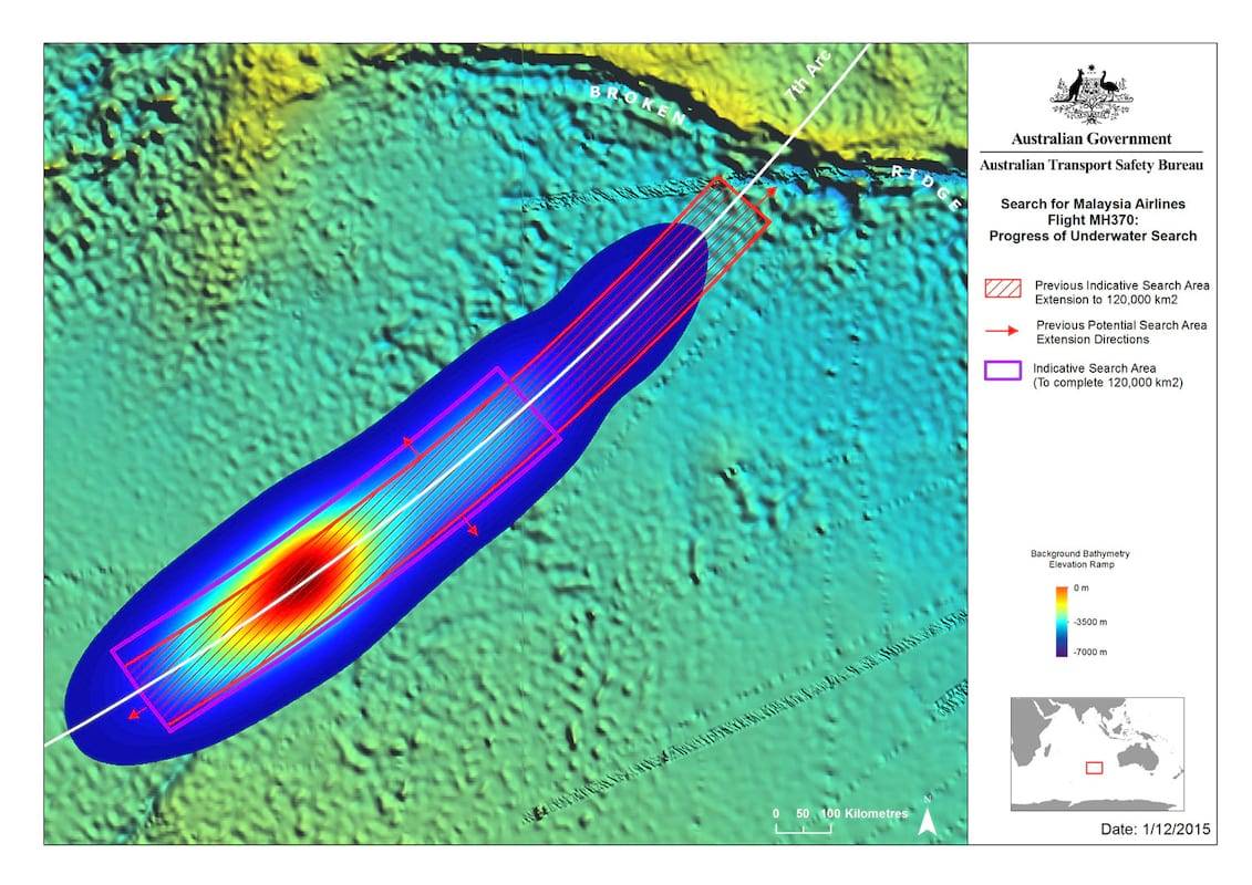 a heat map of the search area of MH370