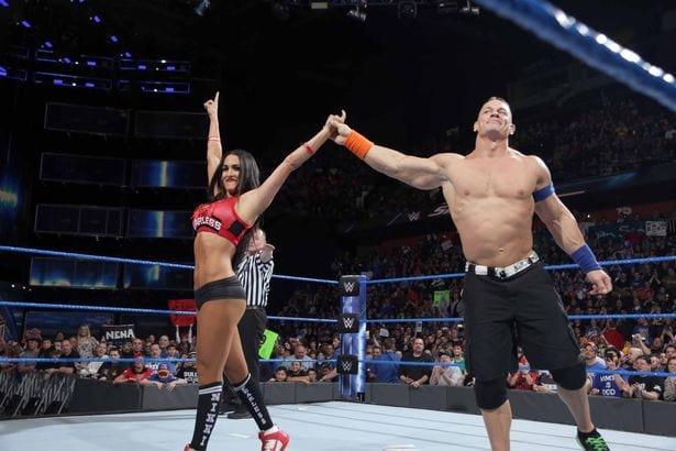 John Cena and Nikki Bella at Wrestlemania