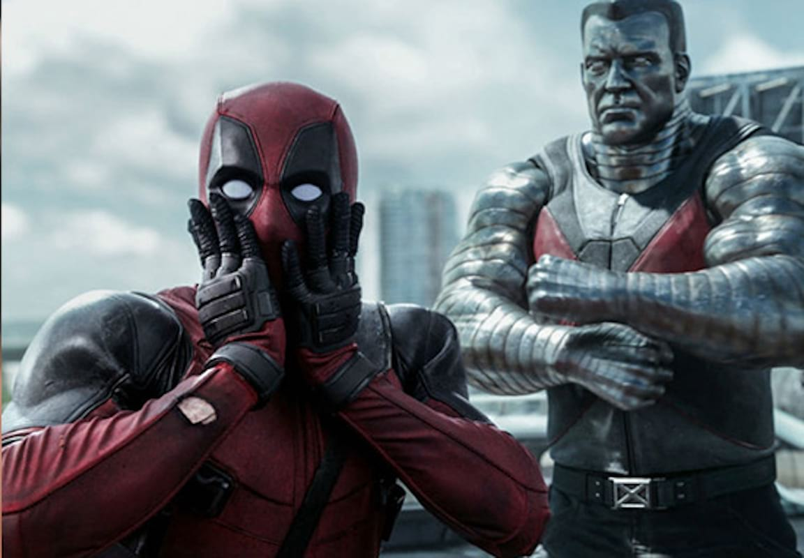 scene from the original Deadpool with Deadpool and Colossus from the X-Men