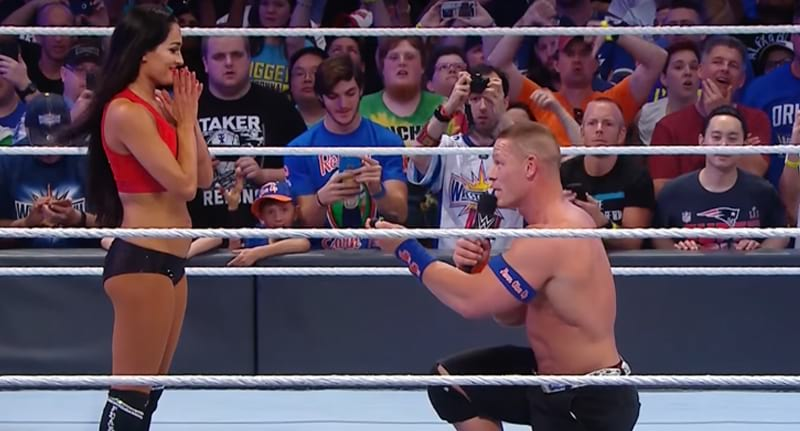 Joh Cena and Nikki Bella get engaged at Wrestlemania