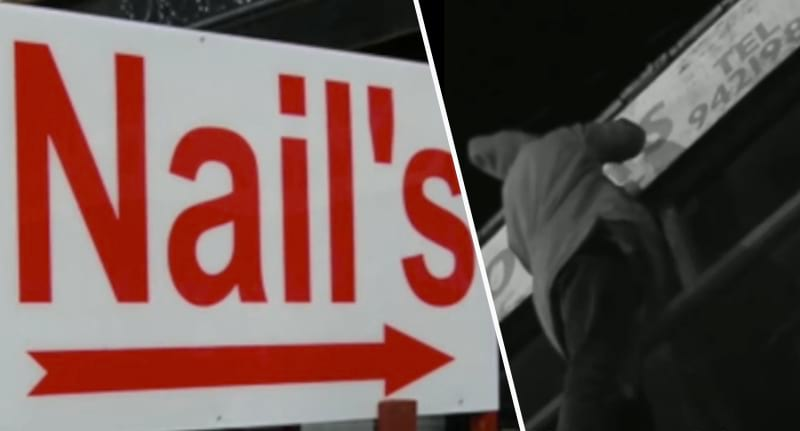 man sneaks out at night to correct bad grammar on shop signs