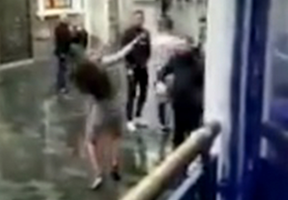 Bouncer Punches Woman In Face After She Tries To Attack Him