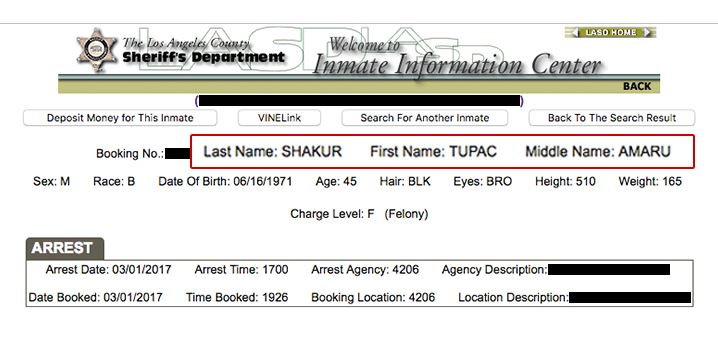 A Tupac Shakur Was Arrested In Los Angeles Last Month tupac