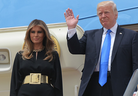 Melania's Belt Is Upstaging Donald Trump's First Official Foreign Visit