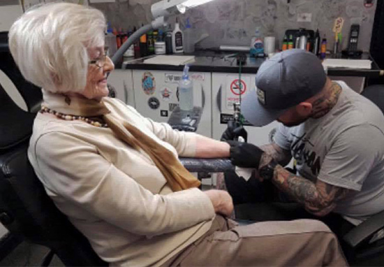 82-Year-Old Woman Gets First Tattoo In Memory Of Late Husband