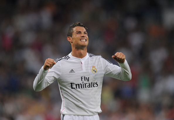 Cristiano Ronaldo of Real Madrid celebrates after scoring Real's 2nd goal