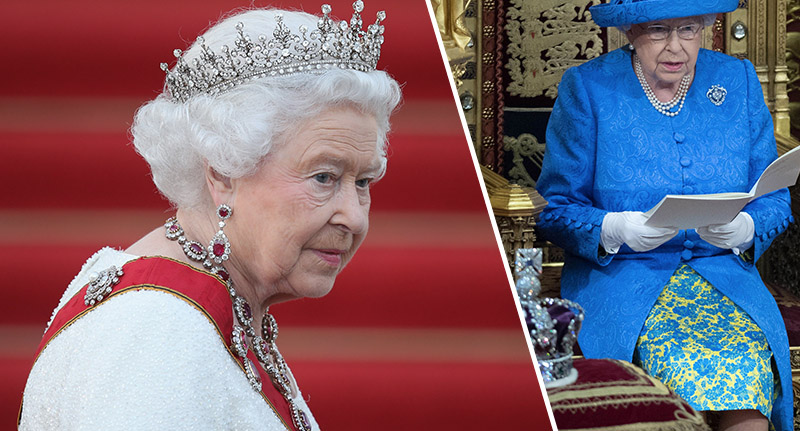 people spot 39 secret message 39 on the queen 39 s outfit. Black Bedroom Furniture Sets. Home Design Ideas