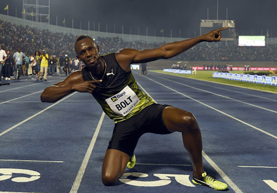 Usain Bolt doing his trademark lightning bolt celebration