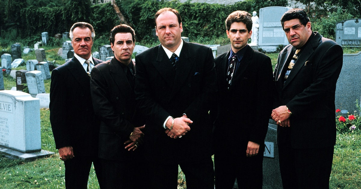 Tony Soprano with Christopher, Silvio, Paulie and Pussy