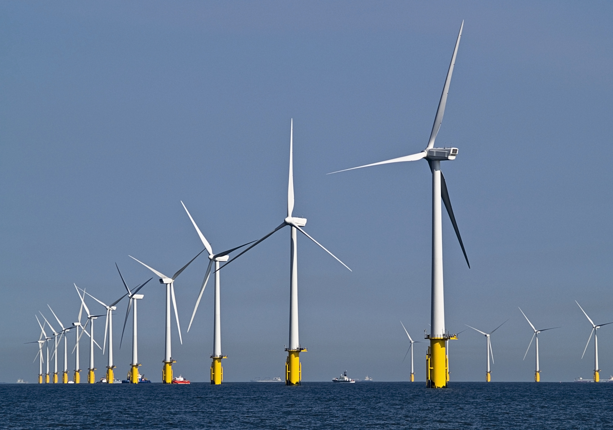 Offshore wind farm UK in southern North Sea.