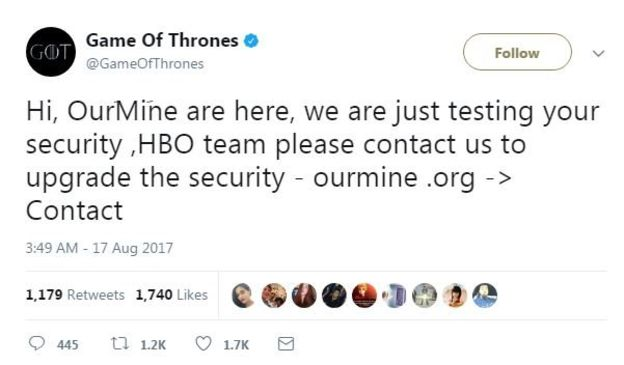 Hackers Take Over HBO's Social Media Accounts, Threaten Further Leaks 1 1 1